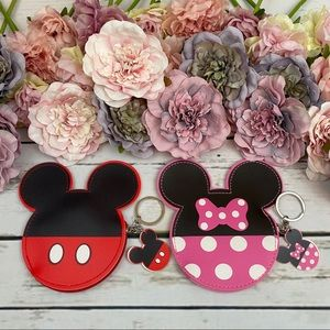 Mickey & Minnie Mouse Coin Purse & Keychain